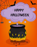 Happy halloween. Halloween poster. magic potion, bats and spiders Stock Photography
