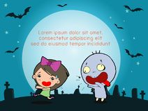 Happy Halloween Poster Party and theme design background, Kids running away from ghost, Happy Halloween. Template for advertising brochure,your text, Vector stock illustration