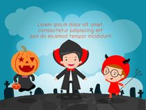 Happy Halloween Poster Party and theme design background, Template for advertising brochure. Your text, Vector Illustration Stock Photos