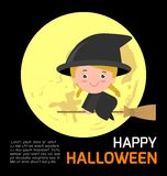 Happy Halloween Poster Party and theme design background, Template for advertising brochure. Your text, Vector Illustration Stock Photography