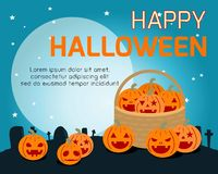 Happy Halloween Poster Party vector illustration.  Royalty Free Stock Photography