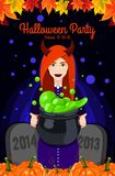 Happy Halloween. Poster, postcard for Halloween. Beautiful witch, witches cauldron, witch hat, potion, pumpkin. Vector illustration for celebration. Banner or Royalty Free Stock Photos