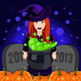 Happy Halloween. Poster, postcard for Halloween. Beautiful witch, witches cauldron, witch hat, potion, pumpkin. Vector illustration for celebration. Banner or Royalty Free Stock Photo