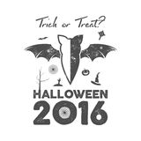 Happy Halloween 2016 Poster or poster. Trick ot treat lettering and halloween holiday symbols - bat, pumpkin. Hand, witch hat, spider web and other. Old banner Royalty Free Stock Image