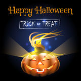 Happy Halloween Poster with Pumpkin Stock Images