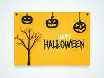 Happy Halloween Poster. Pumpkins under the moonlight. Hands zombies from the ground. Stock Photography