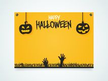 Happy Halloween Poster. Pumpkins under the moonlight. Hands zombies from the ground. Stock Images
