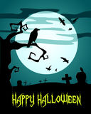 Happy Halloween Poster with raven Royalty Free Stock Photos