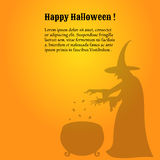 Happy Halloween poster with a shadow of witch Royalty Free Stock Photos