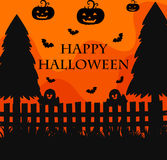 Happy Halloween poster with silhouette background of graveyard Stock Images