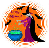 Happy Halloween poster with a silhouette of witch. Stock Images