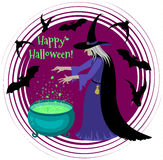 Happy Halloween poster with a silhouette of witch. Stock Photography