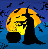 Happy Halloween poster with a silhouette of witch. Stock Photos