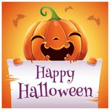 Happy Halloween poster with smiling pumpkin with parchment on orange background. Happy Halloween party. stock photos