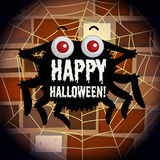 Happy halloween poster with spider web Stock Photography