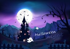 Happy halloween poster, spooky, fantasy and cartoon concept horror story, night scene abstract background vector illustration. Happy halloween poster, spooky royalty free illustration