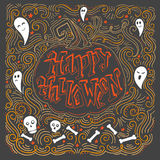 Happy Halloween poster. Vector hand drawn vintage poster with hand-lettering. Happy Halloween greeting card with pumpkin and ghosts. Vector art. Perfect design Stock Photography