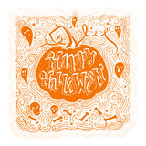 Happy Halloween poster. Vector hand drawn vintage poster with hand-lettering. Happy Halloween greeting card with pumpkin and ghosts. Vector art. Perfect design Stock Photo
