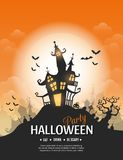Happy Halloween poster. Vector Happy Halloween poster with creepy castle, pumpkin and cemetery. Perfect for greeting card, flyer, banner, poster templates and Stock Image