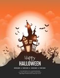 Happy Halloween poster. Vector Happy Halloween poster with creepy castle, pumpkin and cemetery. Perfect for greeting card, flyer, banner, poster templates and Stock Photography