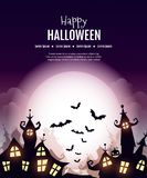 Happy Halloween poster. Vector Happy Halloween poster with creepy city,moon, pumpkin and cemetery. Perfect for greeting card, flyer, banner, poster templates and Royalty Free Stock Photo