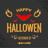Happy Halloween Poster. Vector illustration. Black background Stock Images