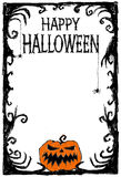 Happy Halloween Poster. Vector illustration card. Halloween vector card. Pumpkin, spiderweb, creepy elements and letters. Drawing and lettering is handmade are Stock Photography