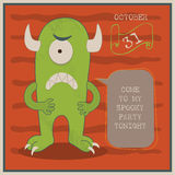 Happy Halloween Poster vector illustration with cartoon monster Royalty Free Stock Photography