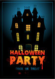 Happy Halloween Poster. Vector illustration with haunted house Stock Images