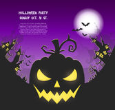 Happy Halloween poster. Vector Halloween night background with pumpkins scary face and creepy city. Perfect for greeting card, flyer, banner, poster templates Royalty Free Stock Photo