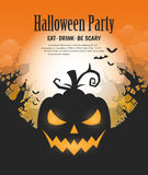 Happy Halloween poster. Vector Halloween night background with pumpkins scary face and creepy city. Perfect for greeting card, flyer, banner, poster templates Stock Image