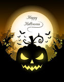 Happy Halloween poster. Vector Halloween night background with pumpkins scary face and creepy city. Perfect for greeting card, flyer, banner, poster templates Stock Images