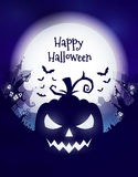 Happy Halloween poster. Vector Halloween night background with pumpkins scary face and creepy city. Perfect for greeting card, flyer, banner, poster templates Stock Photos