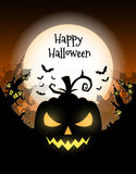 Happy Halloween poster. Vector Halloween night background with pumpkins scary face and creepy city. Perfect for greeting card, flyer, banner, poster templates Vector Illustration