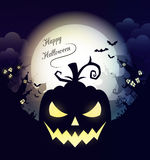 Happy Halloween poster. Vector Halloween night background with pumpkins scary face and creepy city. Perfect for greeting card, flyer, banner, poster templates Royalty Free Stock Photography