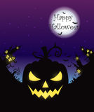 Happy Halloween poster. Vector Halloween night background with pumpkins scary face and creepy city. Perfect for greeting card, flyer, banner, poster templates Royalty Free Stock Images