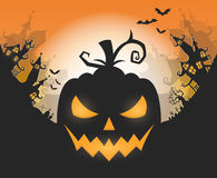 Happy Halloween poster. Vector Halloween night background with pumpkins scary face and creepy city. Perfect for greeting card, flyer, banner, poster templates Royalty Free Stock Photos
