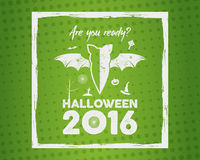 Happy Halloween 2016 Poster. Are you ready lettering, brush frame and halloween holiday symbols - bat, pumpkin Royalty Free Stock Images