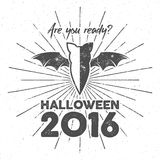 Happy Halloween 2016 Poster. Are you ready lettering and halloween holiday symbols - bat, pumpkin, hand, witch hat Stock Photography