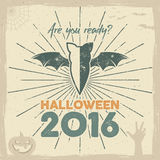 Happy Halloween 2016 Poster. Are you ready lettering and holiday symbols - bat, pumpkin, hand, witch hat, spider web and Royalty Free Stock Images
