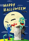 Happy Halloween poster with zombie in cemetery. Holiday party banner with undead man, festive horror event. Walking dead character, zombie hands sticking out royalty free illustration