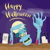 Happy Halloween poster with zombie in graveyard. At full moon. Holiday advertising with funny undead, festive horror event banner. Cute walking dead characters stock illustration