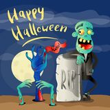 Happy Halloween poster with zombie. Happy Halloween poster with smiling zombie in cemetery. Holiday advertising with funny undead, festive horror event banner royalty free illustration