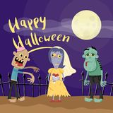 Happy Halloween poster with zombies in cemetery. At full moon. Holiday advertising with funny undead, festive horror event banner. Cute walking dead characters royalty free illustration