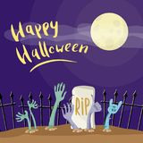 Happy Halloween poster with zombies hands. In graveyard. Walking dead in cemetery vector illustration. Halloween advertising with funny undead, festive horror stock illustration