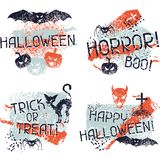 Happy Halloween prints with grunge texture Stock Photos