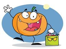 Happy halloween pumkin with bag Stock Image