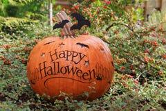 Happy Halloween pumpkin. In the garden Royalty Free Stock Photography