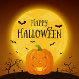 Happy Halloween pumpkin. Happy Halloween banner with pumpkin Stock Photo
