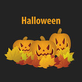 Happy Halloween with pumpkin. banner or invitation. Vector. Illustration Stock Image